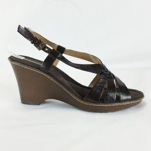 Bandolino 8M Brown Leather Wedge Sandals S22-13